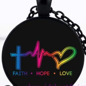 Necklace- NEW- Christian Cross Faith Hope Love